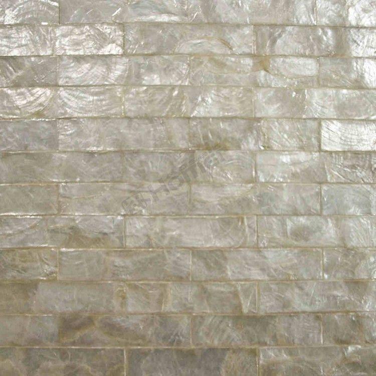 White Capiz Tiles Brick Pattern Mesh Backing For Wall Decor Kitchen Backsplash Living Room Bedroom Wall Tiles In Mosaics Shell Mosaic Tile Pearl Tile Tiles