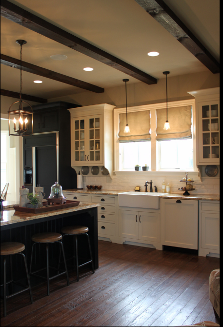 glass cabinets around window with beams home kitchens sweet home home decor on kitchen cabinets around window id=60154