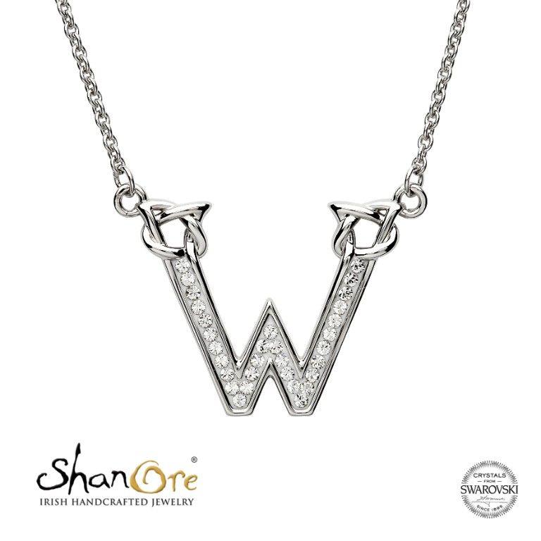 Silver Initial W Adorned with White Swarovski Crystal by