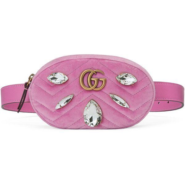 9b89712edd292e Gucci Gg Marmont Velvet Belt Bag ($1,290) ❤ liked on Polyvore featuring bags,  handbags, pink, purple purse, cross-body handbag, waist fanny pack, pink ...