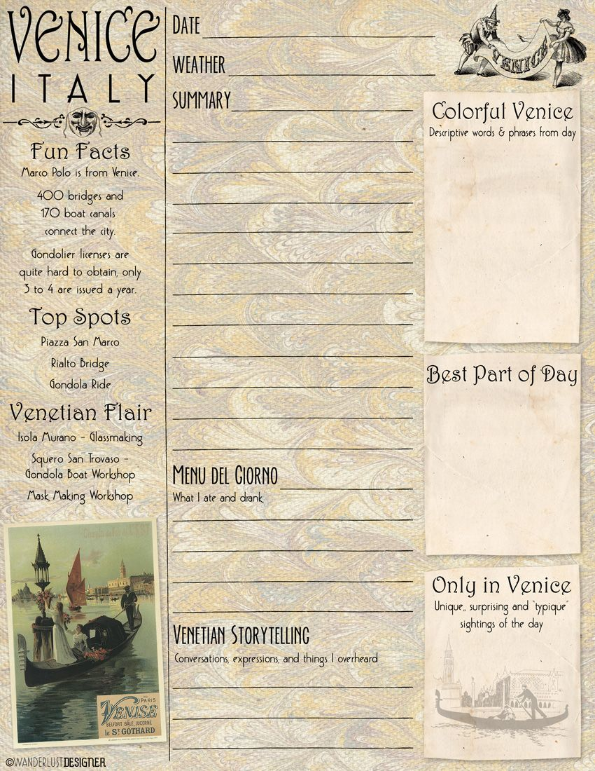 Art on the Go: Free Printable Venice Journal and Sketch ...
