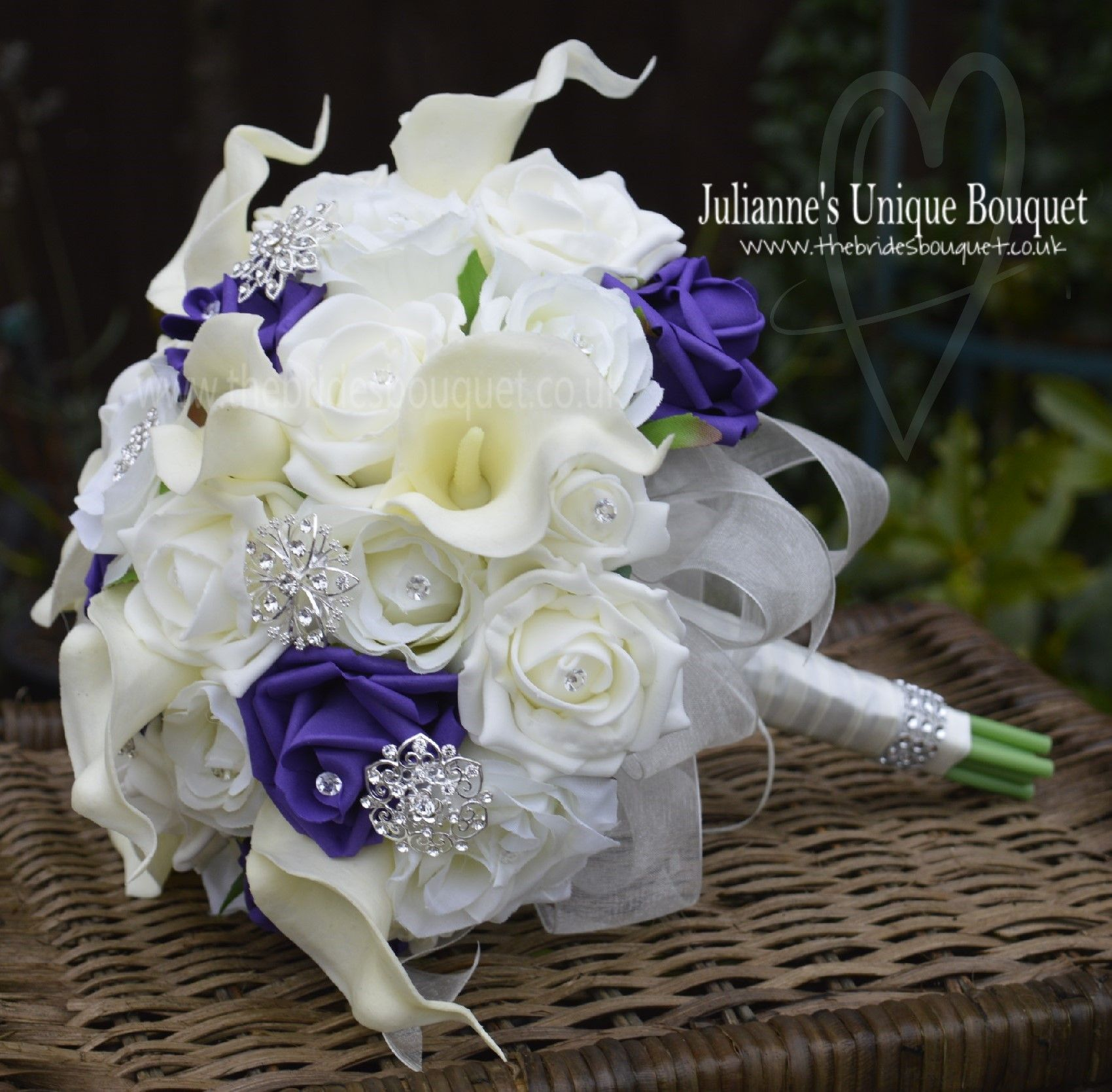 Calla Lily and Rose Bridal bouquet in ivory and cadburys