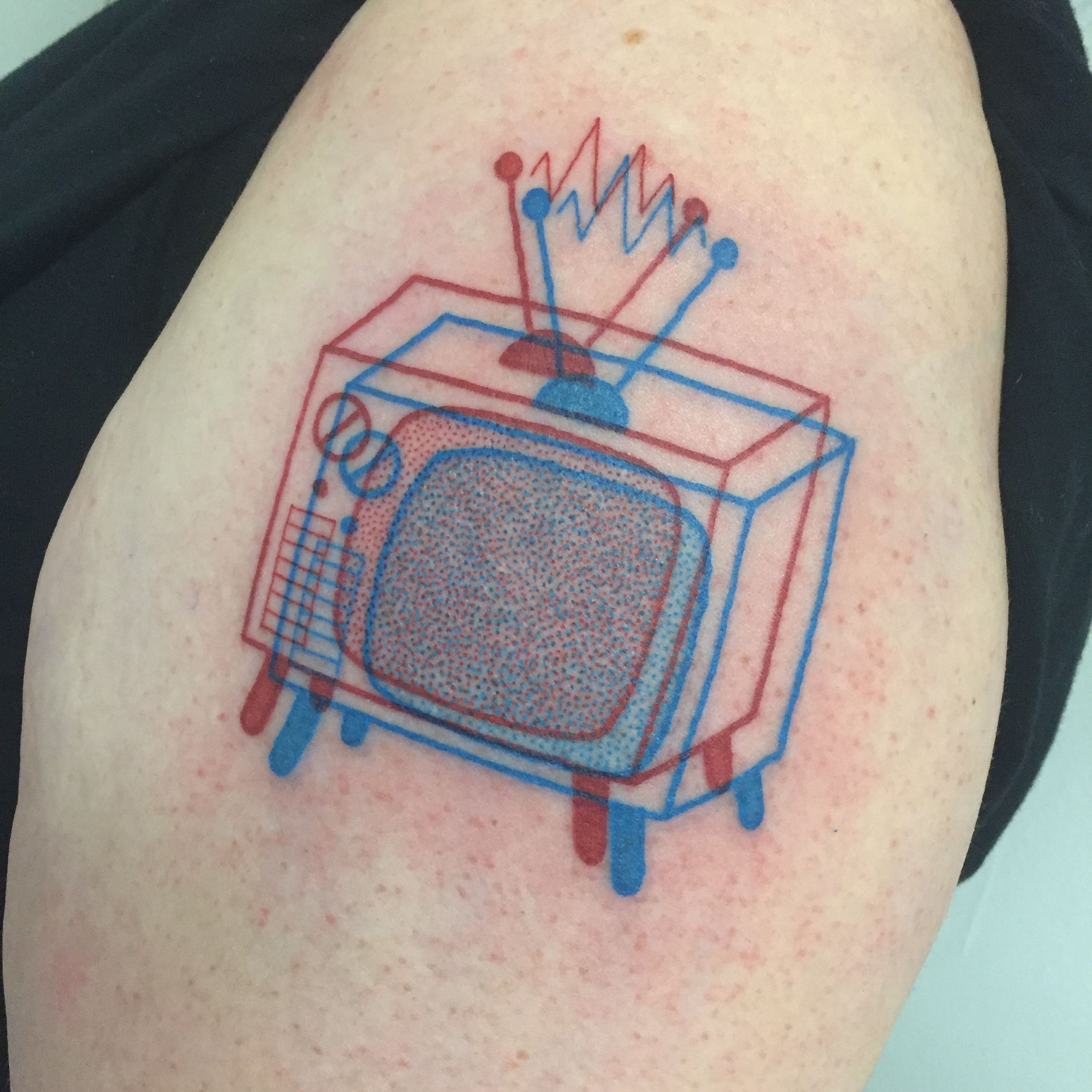 Winston the Whale - 3D TV set tattoo @winstonthewhale