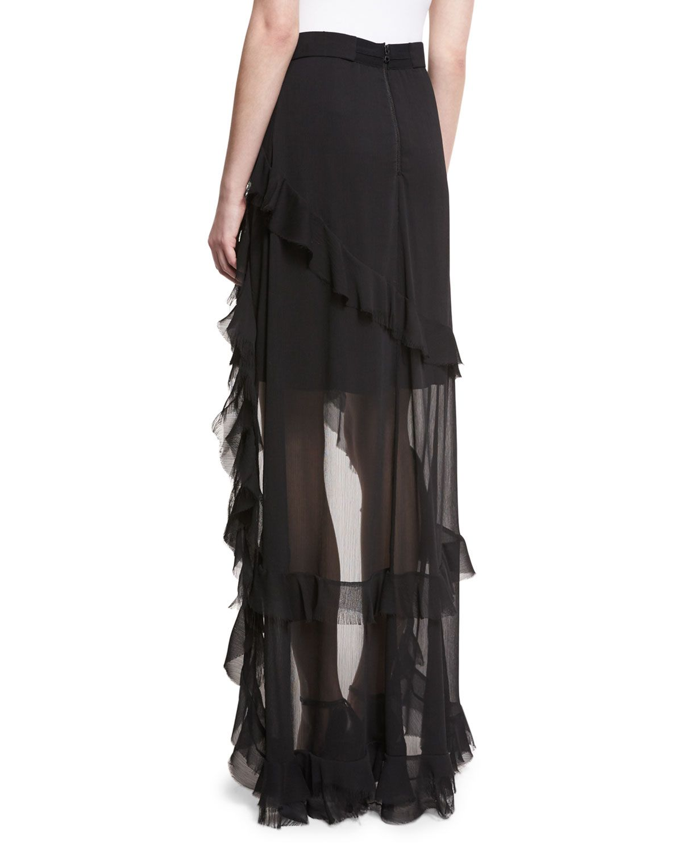 4001511ec32b8 Lavera Layered Ruffle High-Low Maxi Skirt Black | Products | Skirts ...