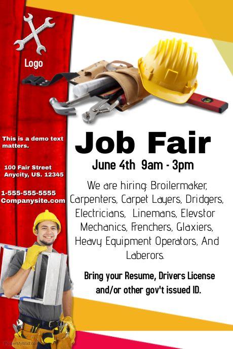 Construction Job Fair Template Flyer Template Flyer Job Fair