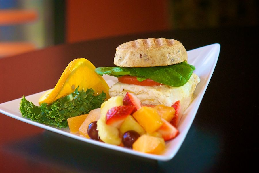 Egg White Sammy at Nadoz is made fresh to order with low fat herb cream cheese, spinach and tomato.