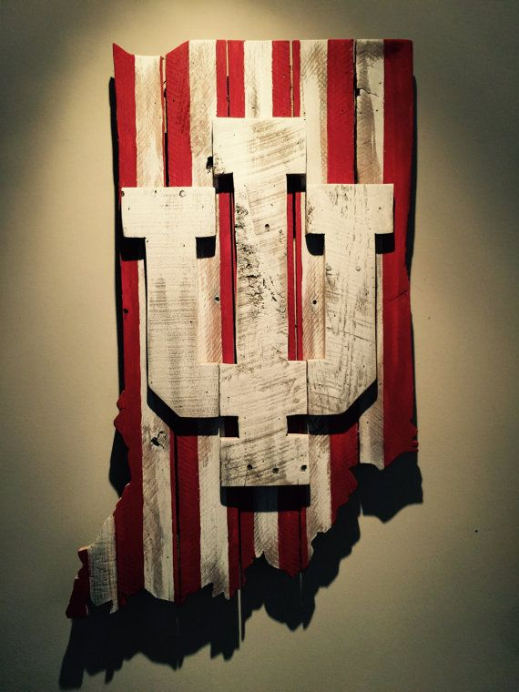 Wooden State of Indiana with IU logo | Pallet wood, Logos and Pallets