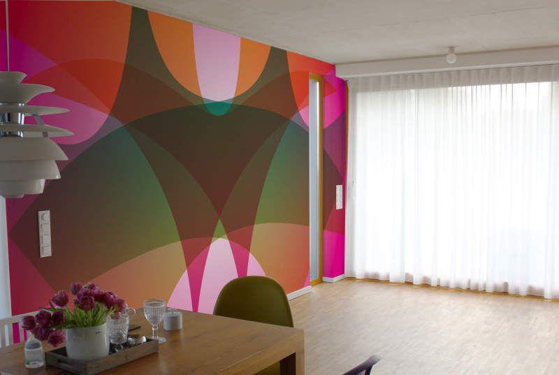 Wandgestaltung Lounge-Design in Rot und Grün