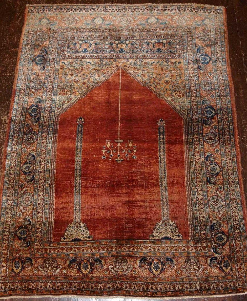 Antique Turkish Silk Prayer Rug Ottoman