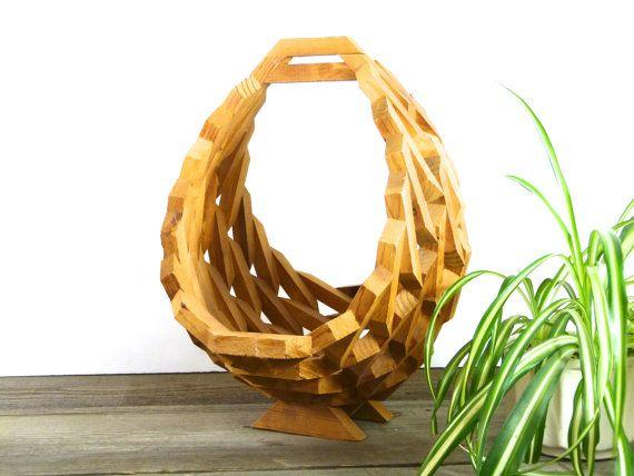 Vintage Geometric Wooden Plant Hanger Wooden Planter Basket 1561 Handmade Plant Plant Hanger Wooden Planters