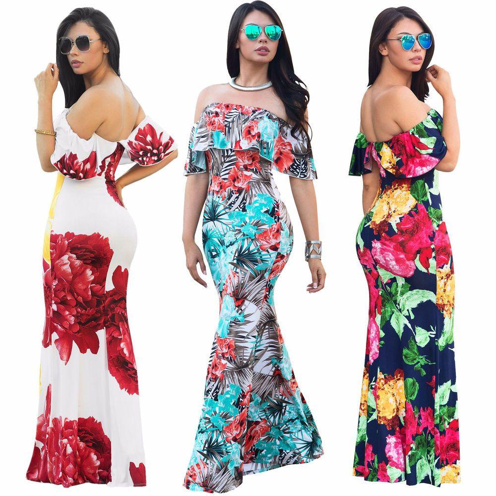 Us women floral long maxi dress short sleeve evening party summer