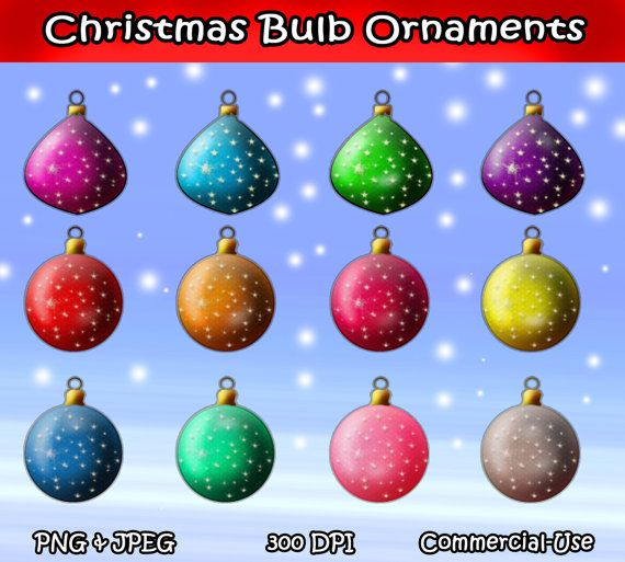 Christmas Ornament Bulbs Clip Art 12 Piece Set Blue Red By I365Art 250