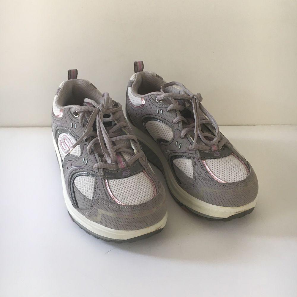 Sketcher Shape Ups Womens Sz 10 Gray Pink White Silver 11806 Fitness