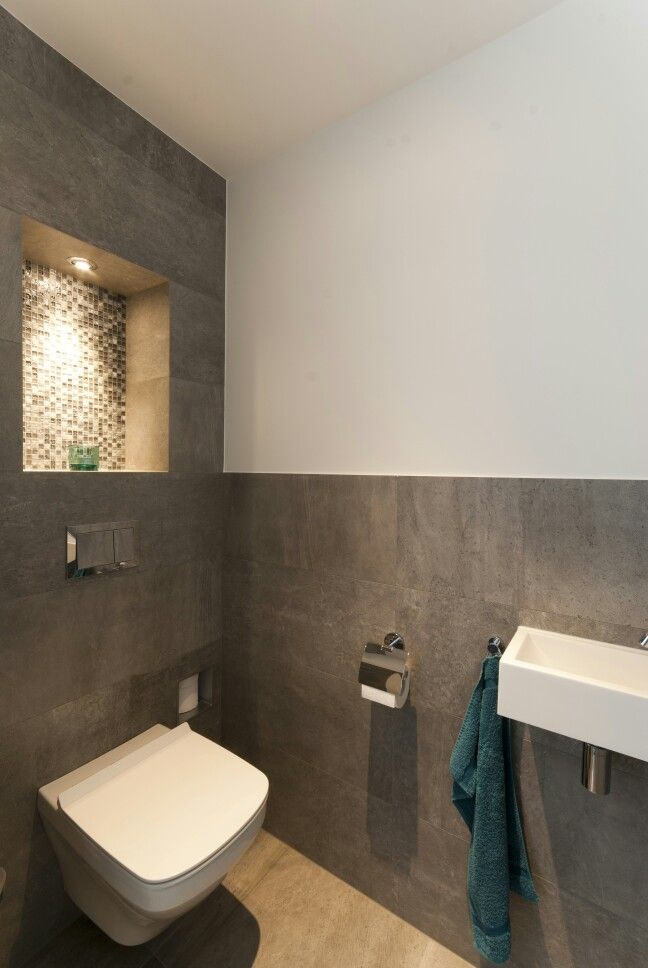 Toiletruimte Met Tegels Van Porcelanosa. Modern ToiletToilet IdeasDownstairs  ToiletDownstairs CloakroomBathroom ...