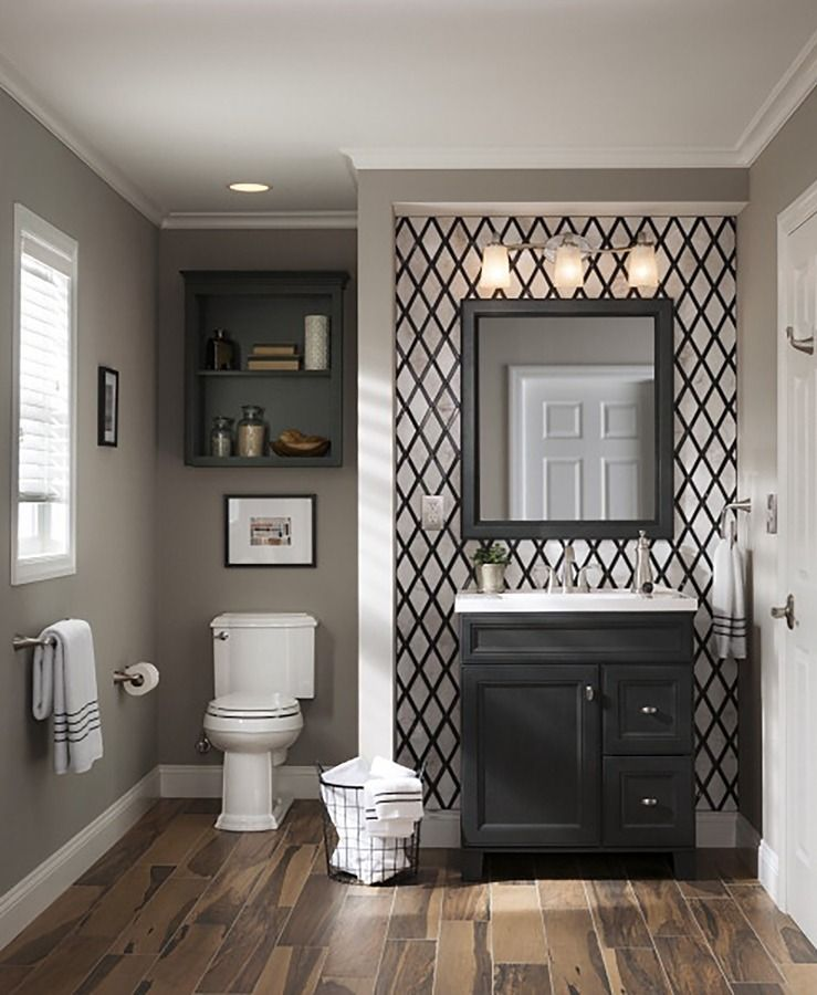 Pin By Stacers Pick On Bathroom Ideas Wallpaper Accent Wall Bathroom Transitional Bathroom Vanities Bathrooms Remodel