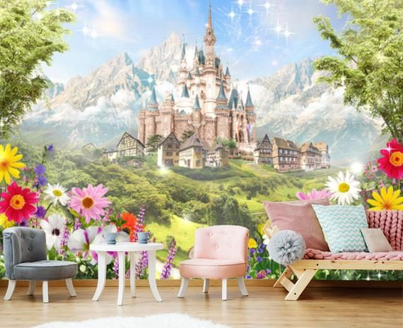 Best Princess Castle Kids Wallpaper Room Sticker Wall Nursery 400 x 300