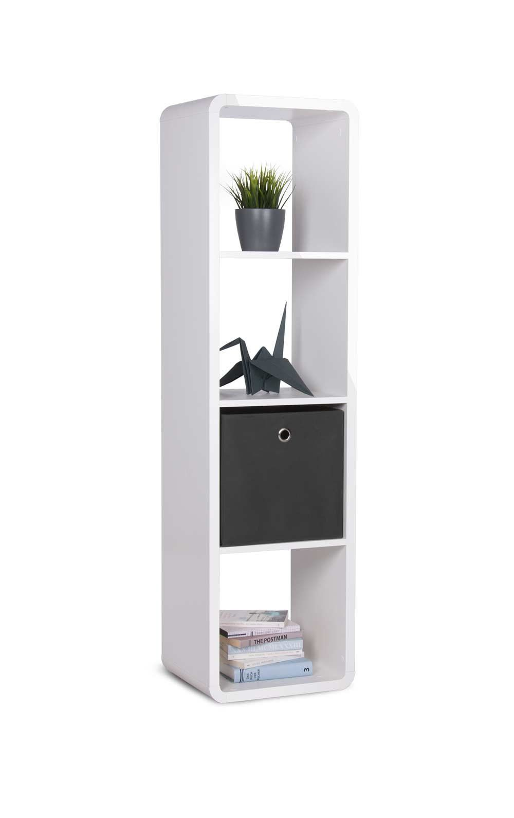 Regal In Glanz Weiss 4 Facher Abgerundete Ecken Und Hochglanz Kante Masse B H T Ca 38x142x33 Cm Amazon D Home Office Storage Locker Storage Storage Shelves