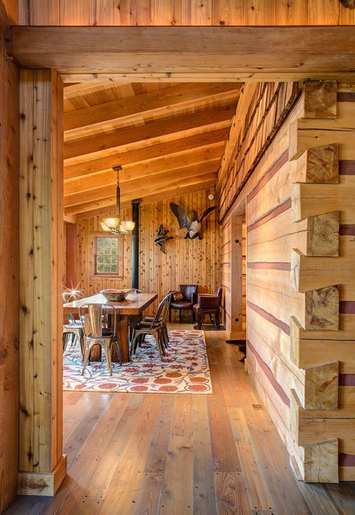 Half Dovetail On Interior Wall Timber Framing Cabin Living Room