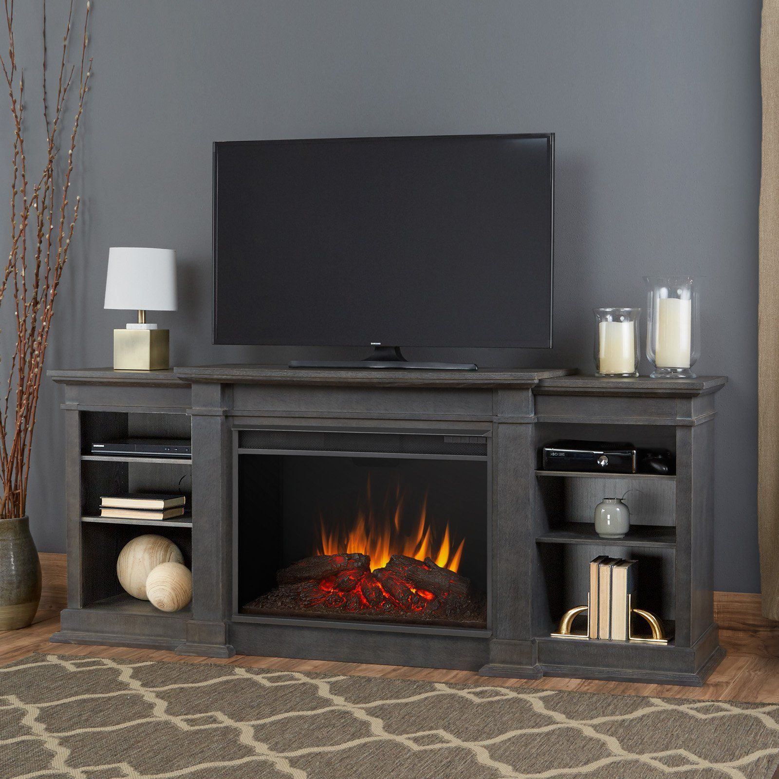 Real flame eliot grand entertainment center electric fireplace