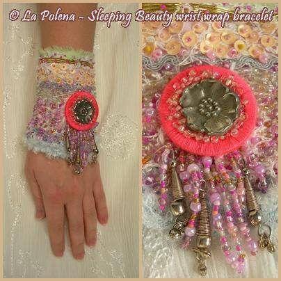 https://flic.kr/p/ExggMk | Sleeping Beauty bracelet | Pastel coloured richly beaded sequined textile bracelet, Artisan bead Type I with vintage recycled metal rose, beaded fringe, kuchi charms.