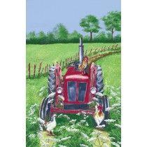 Tractor Linen Tea Towel