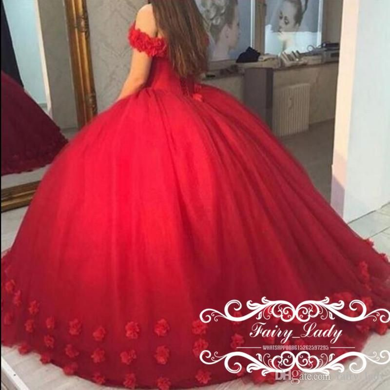 bed872ea5e Red 3d Floral Appliques Puffy Ball Gown Quinceanera Dresses Sweet 16 Off  Shoulder Red Tulle Lace Up Back 2017 Party Pageant For Girls Rehearsal  Dinner ...