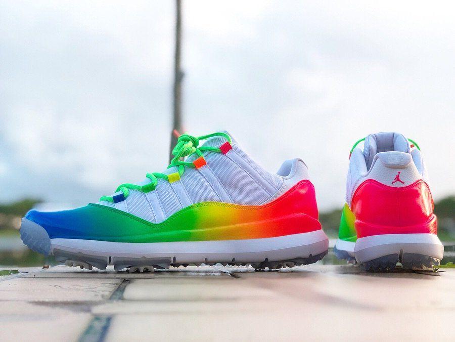 9ff8331a6a8 Ray Allen Rainbow Air Jordan 11 Low Golf Shoes | Sneakerhead | Golf ...