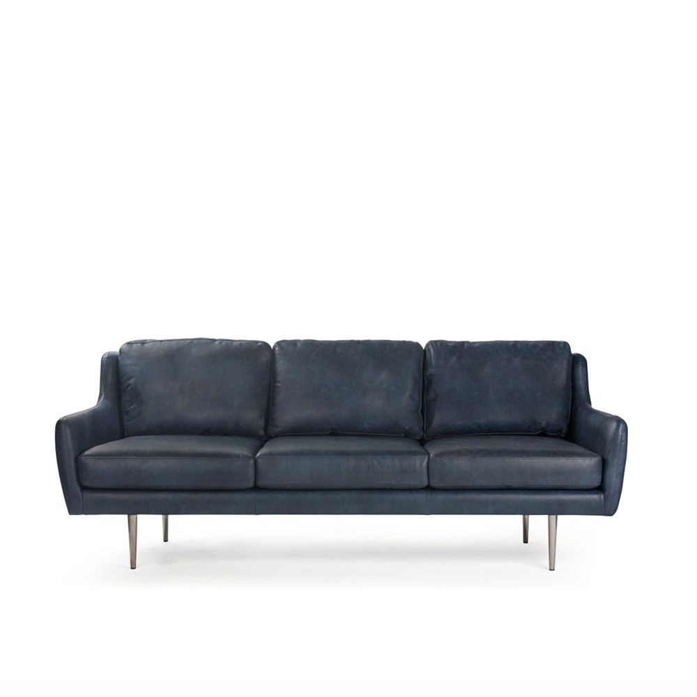 Madison 3 Seater Sofa In Oxford Blue Leather Sofas Me And My