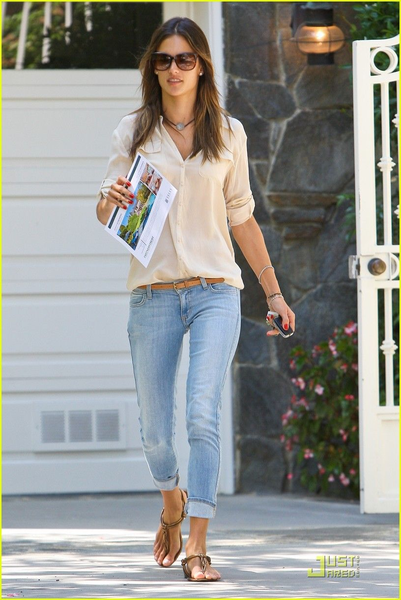 Alessandra Ambrosio Light Wash Cropped Jeans Button Up