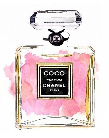 Coco Perfume Print from Watercolor Painting Chanel by LAscandal