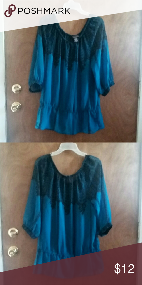 SALE! Covington sheer top Covington sheer top sz large. Beautiful pre-loved! You will need a cami underneath. Like a turquoise or blue green. Gorgeous color! Covington Tops