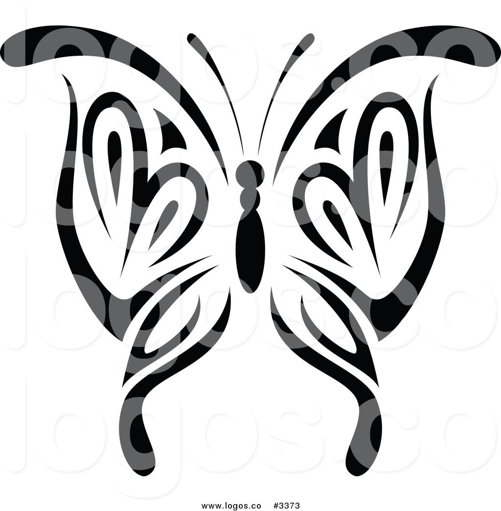 Royalty Free Vector of a Black and White Tribal Butterfly ...