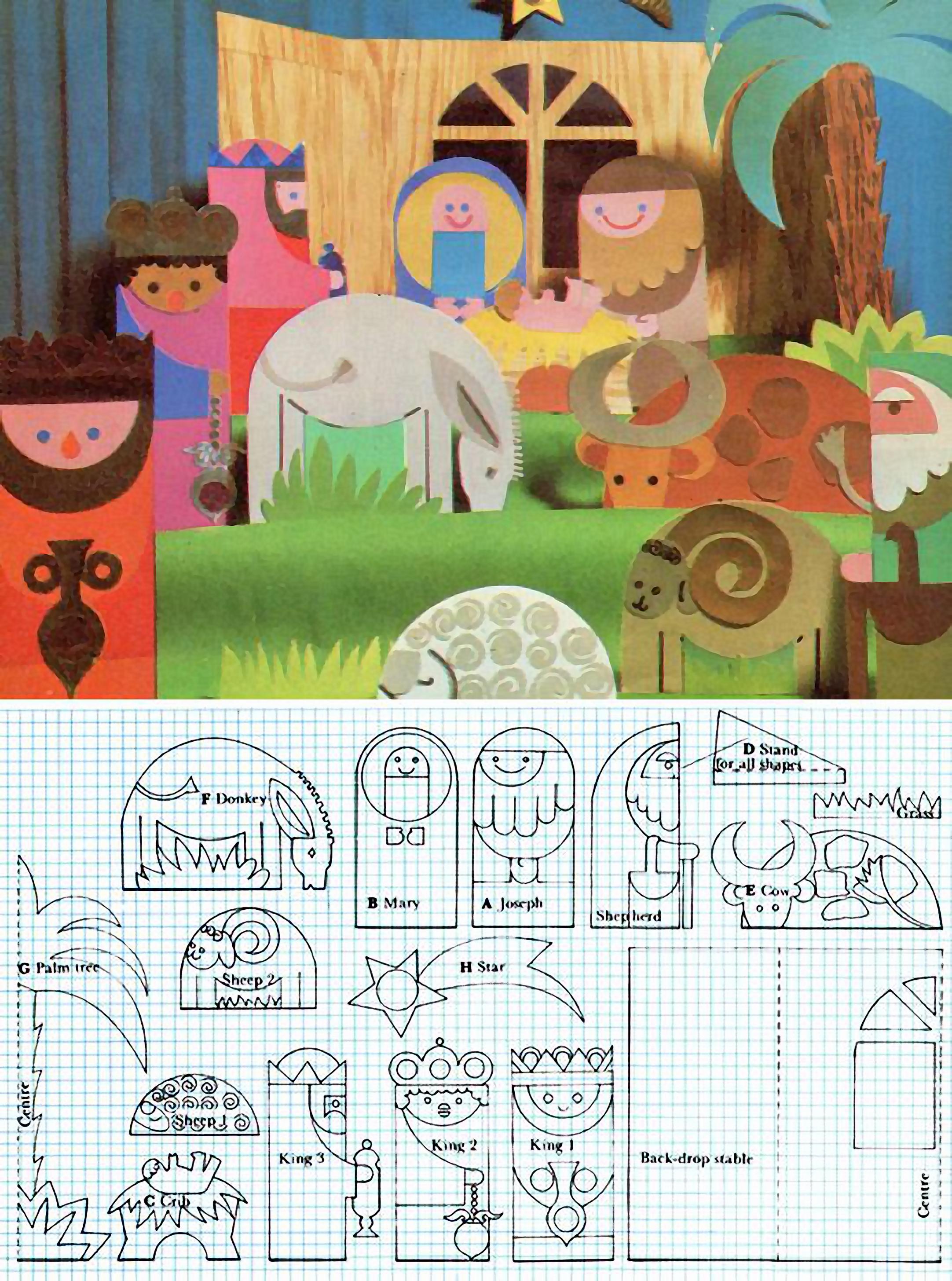Belén Para Recortar Y Construir En Cartulina Con El Inconfundible Estilo De Los Años 70 Manualidades Navideñas Navidad Niños Manualidades Navidad