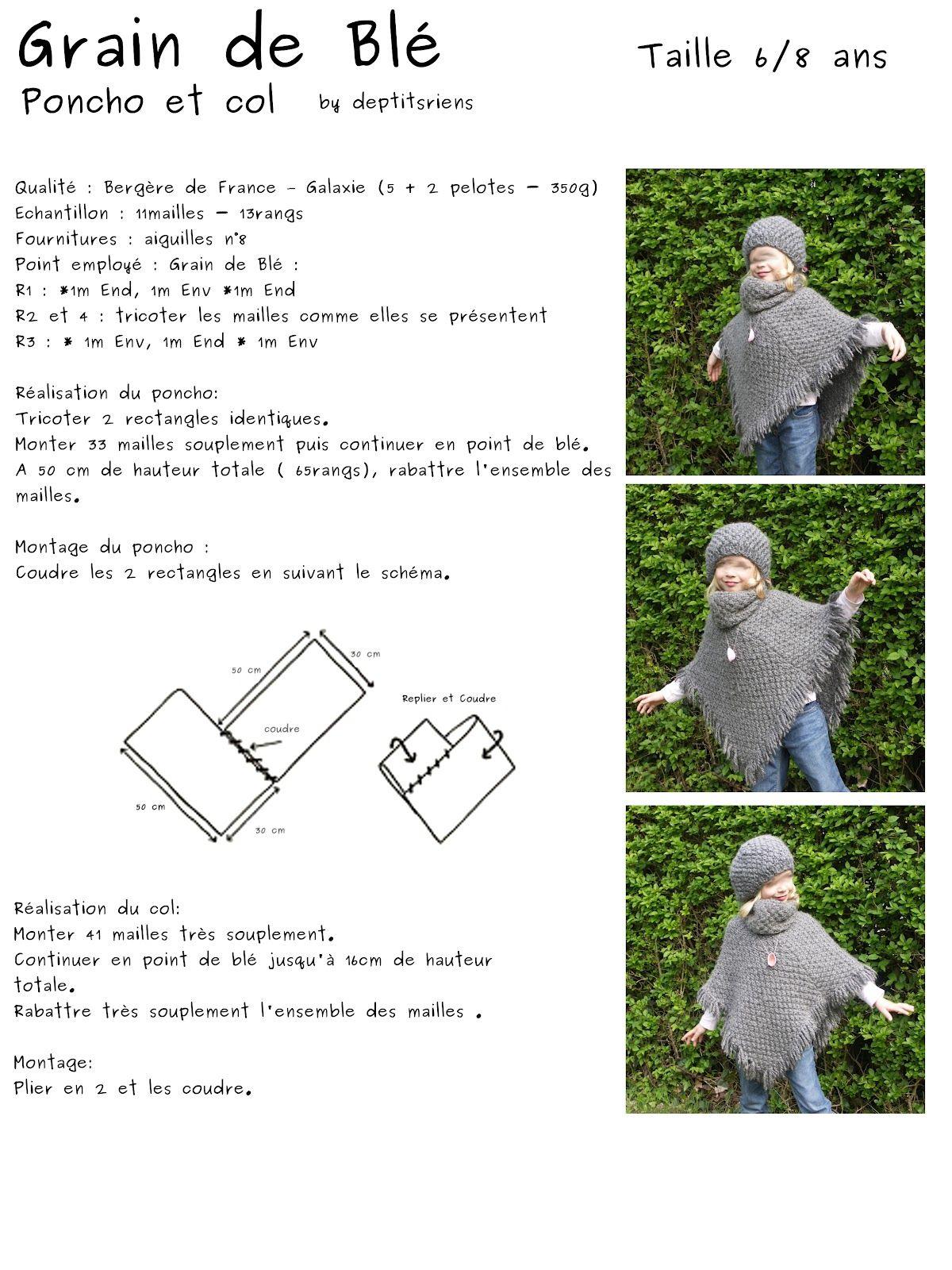 Super Devoir de vacances Bis: le tuto de l'ensemble poncho | tricot  QN65