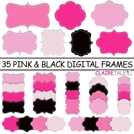 Digital Clipart Labels Pink Black Frames Clipart Frames Labels