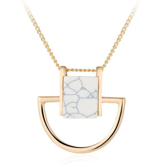 Marble Pendant Statement Necklace