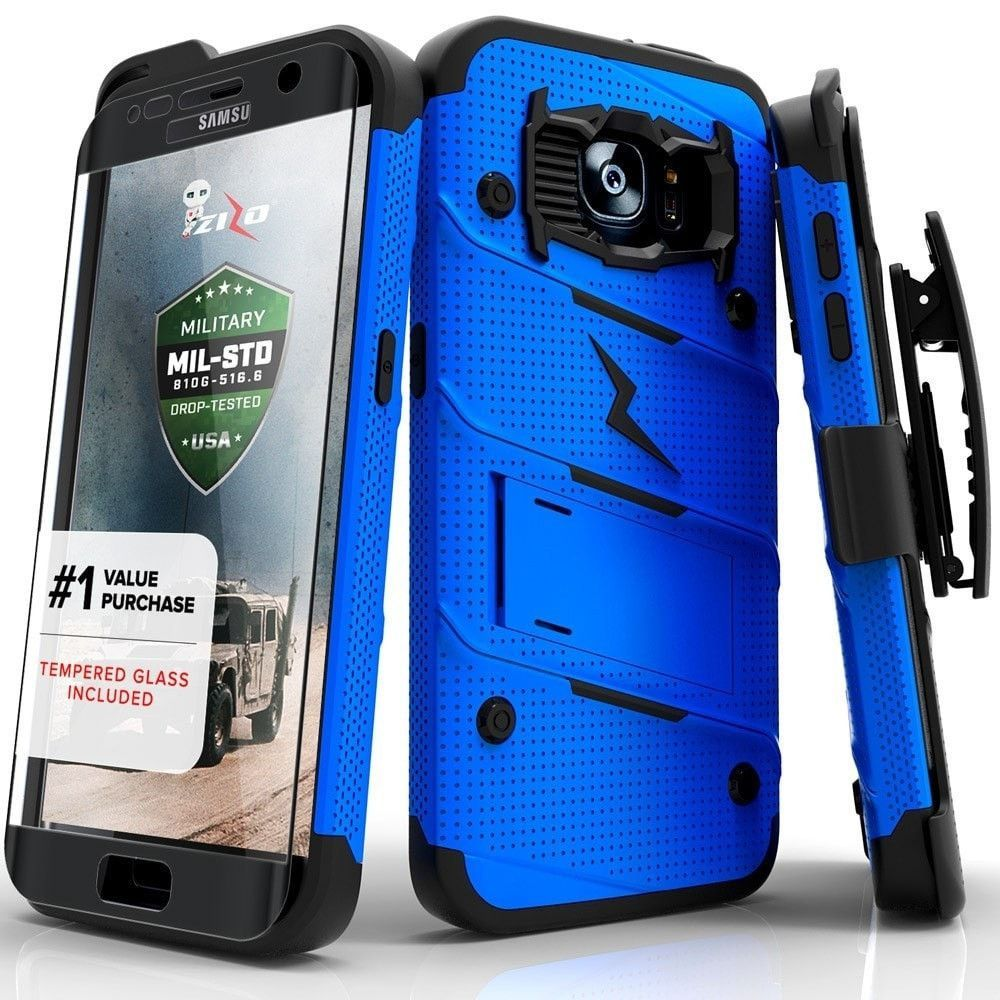 Zizo BOLT Super Defender Samsung Galaxy S7 Edge Case - Blue/Black