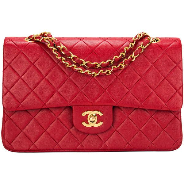 Chanel Vintage Red Quilted Lambskin Large Classic Double Flap Bag ... : chanel red quilted bag - Adamdwight.com