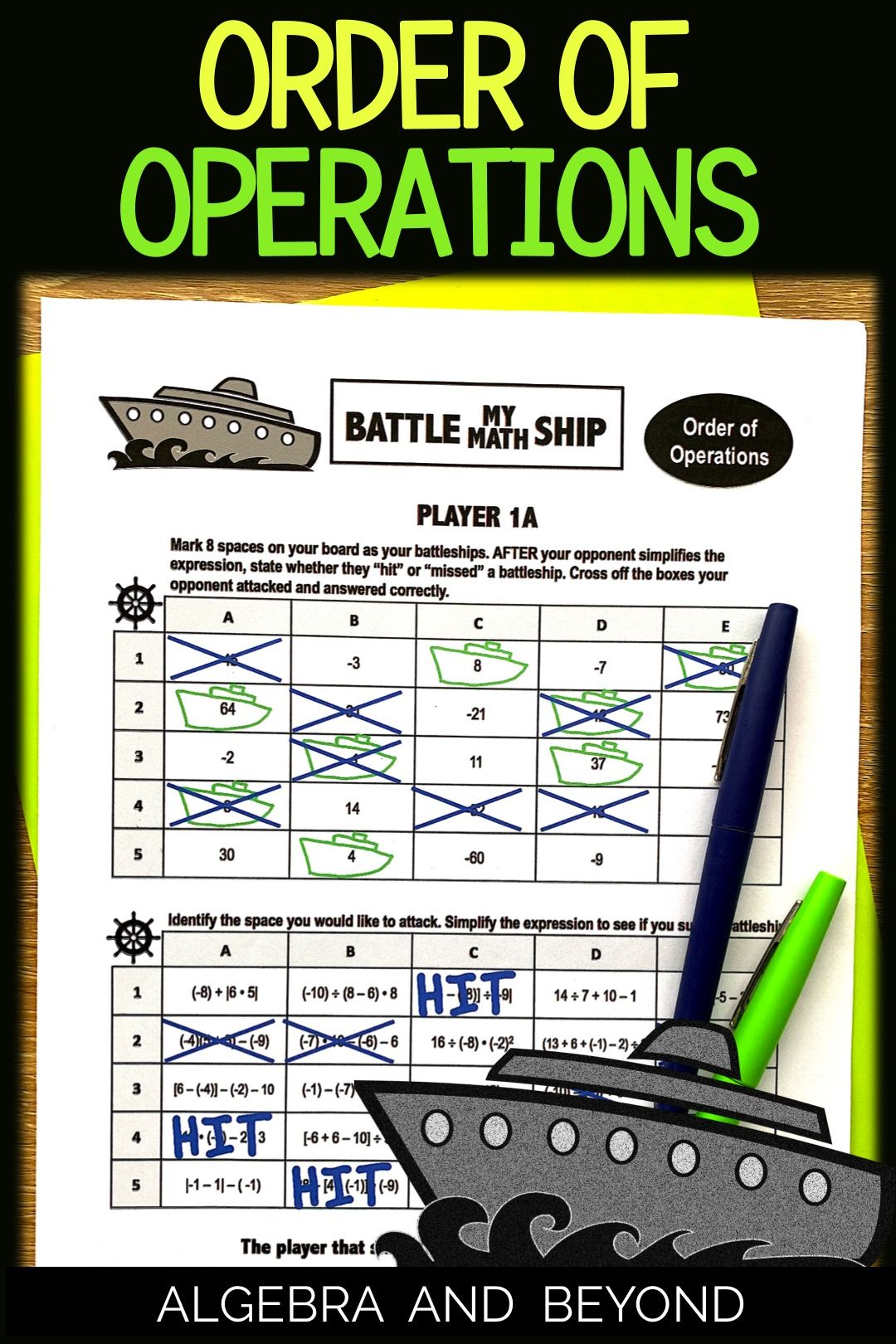 Order of Operations Activity Battle My Math Ship Game in