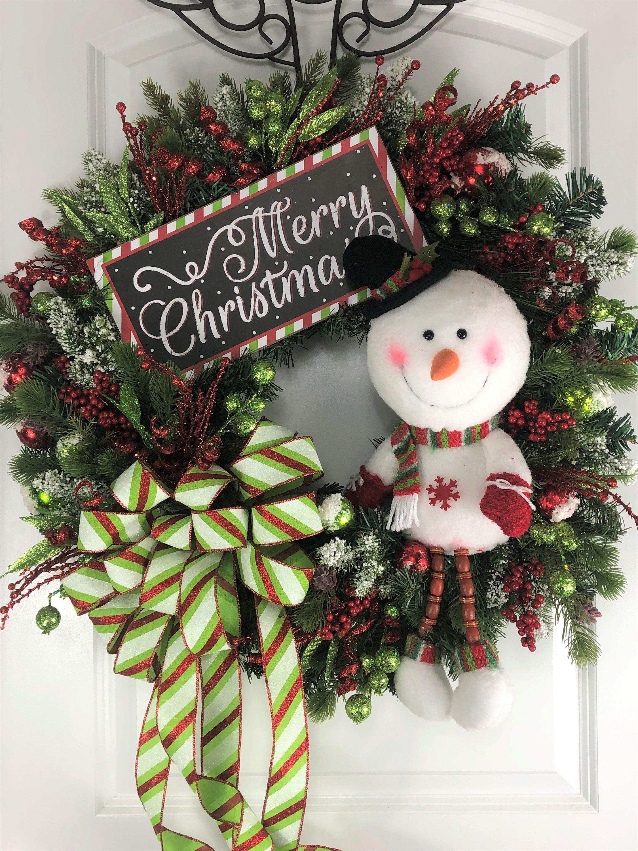Front door Christmas Wreath,Snowman Decor Snowman Wreath,Christmas Door decor