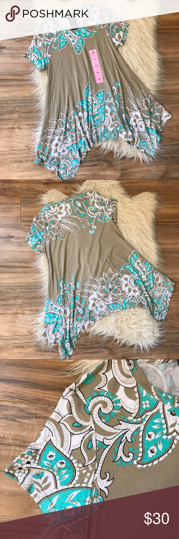 """NWT Chelsea and Theodore paisley tunic NWT, no actual tag but size sicker still on , no rips stains or pilling, 20"""" bust laying flat, 28"""" long, 5"""" sleeve, no trading or modeling chelsea & theodore Tops Tunics"""