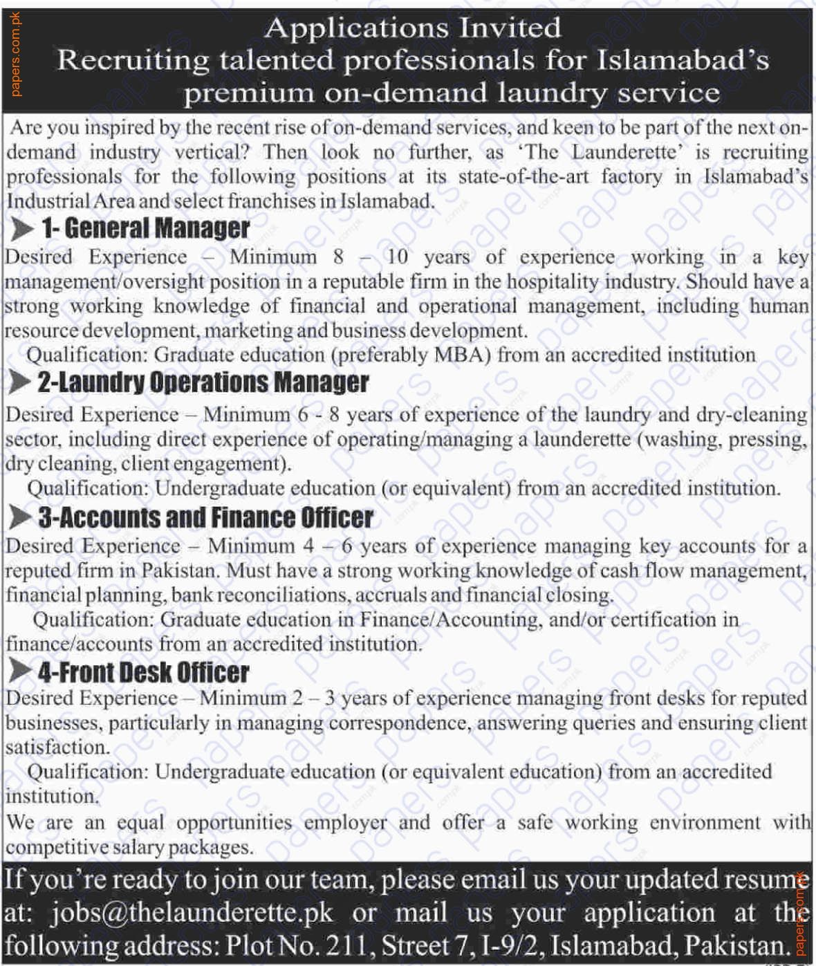 General Manager&Accounts&Finance Officer Jobs In Islamabad