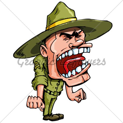 Angry Cartoon Drill Sergeant Screaming In Anger | Drill ...
