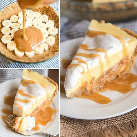 This Caramel Banana Cream Pie has a delicious graham cracker crust, followed by a caramel layer, topped by banana pudding AND whipped cream!