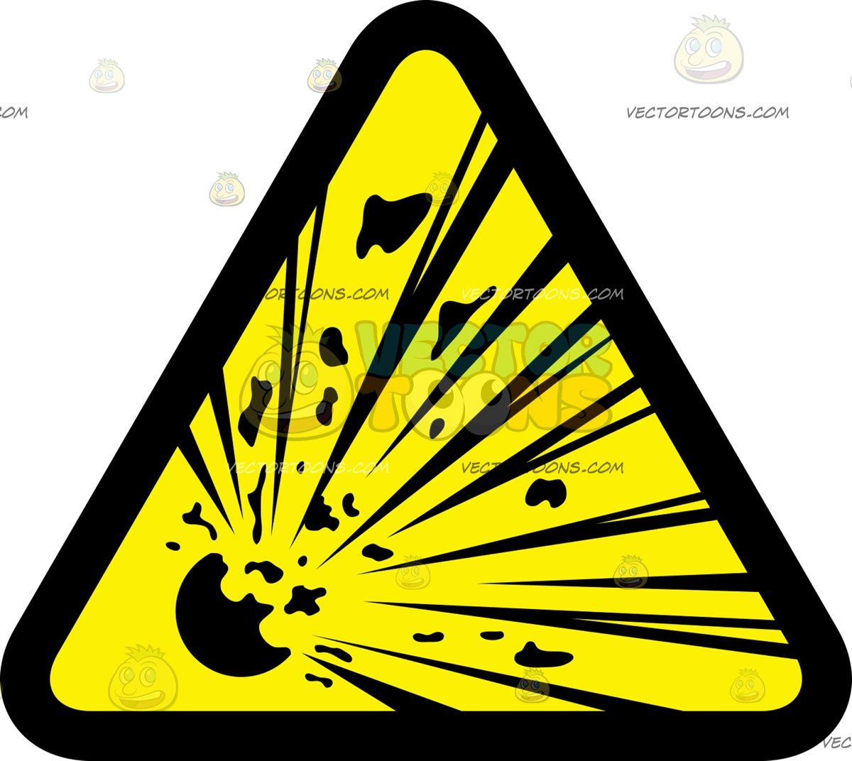 Explosive Hazard Sign A triangular sign with a black