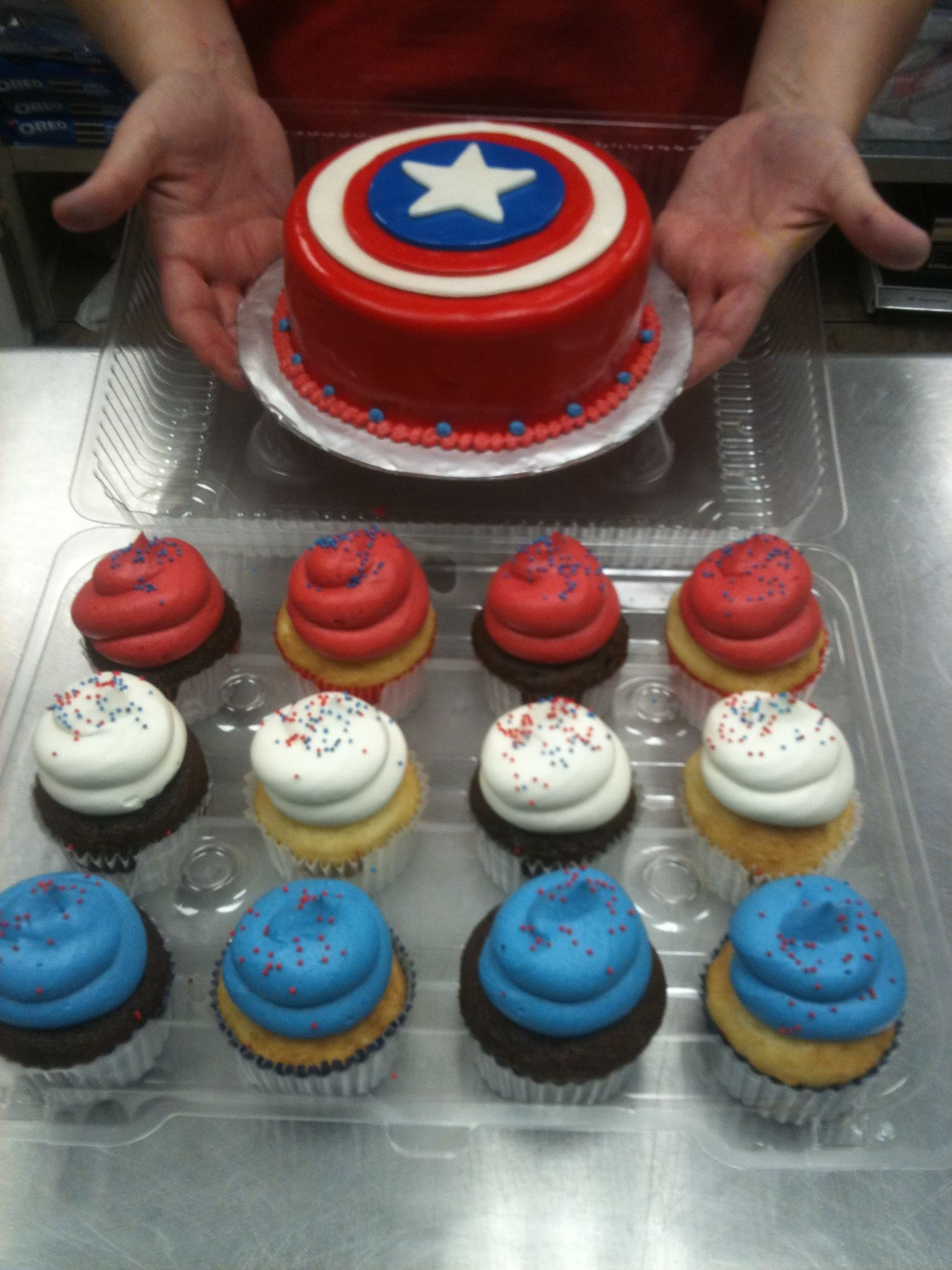 Captain America Smash Cake with matching Red White and Blue