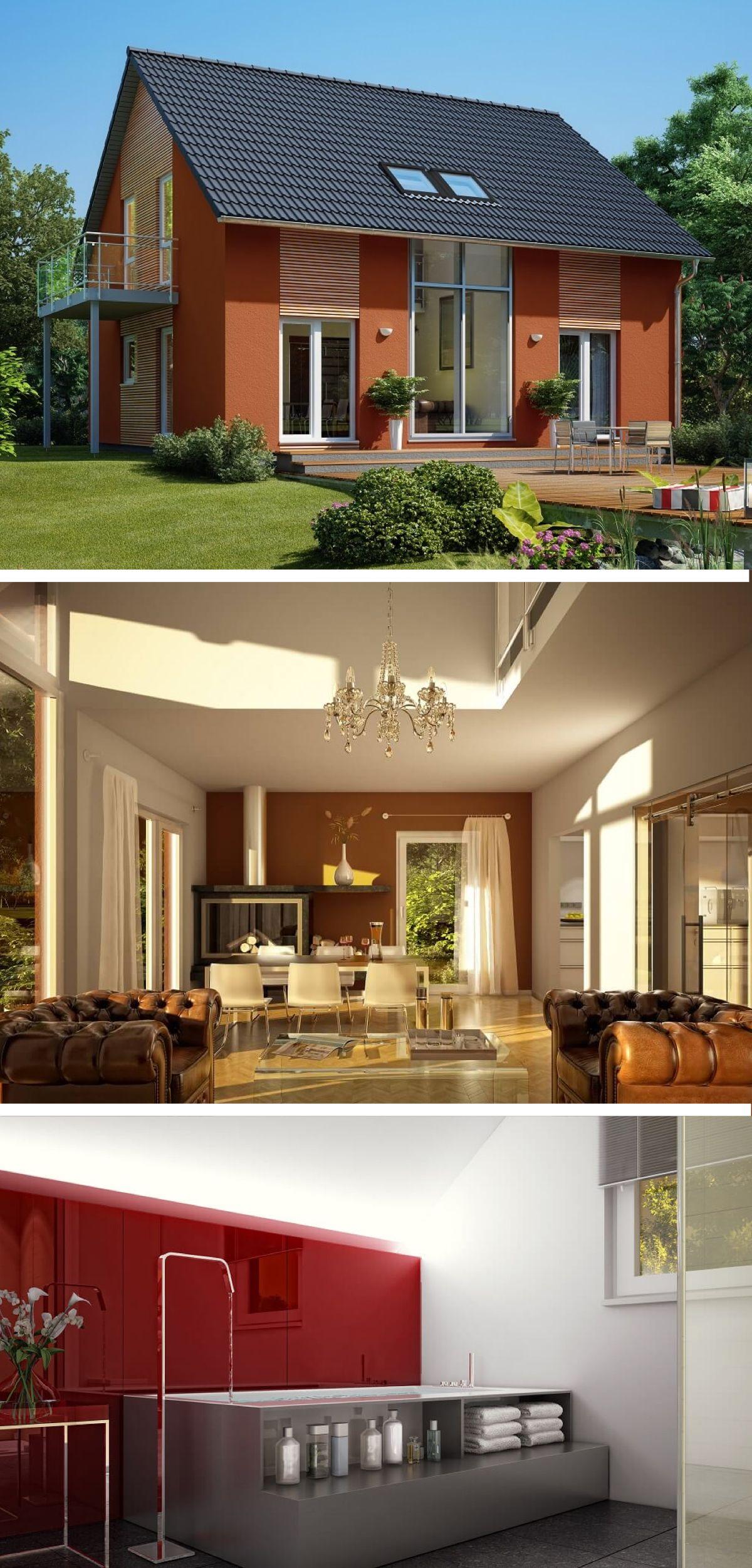 Eitelkeit Satteldach Modern Dekoration Von Satteldach- Mit Galerie Und Putz Fassade Rot