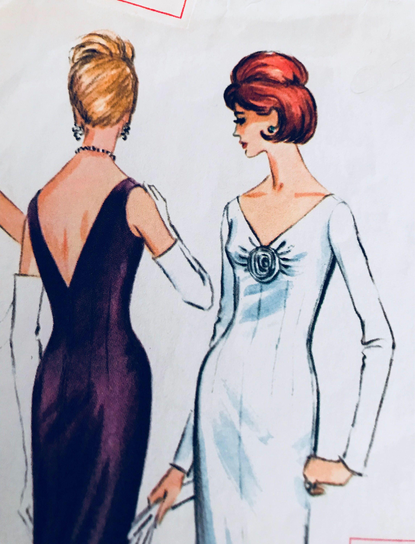 Bust 34 1960s Gown Or Cocktail Dress Mccalls 7049 Scarce Vintage Pattern Low V Neck Back Cocktail Dress Dresses V Neck Dress [ 3000 x 2290 Pixel ]