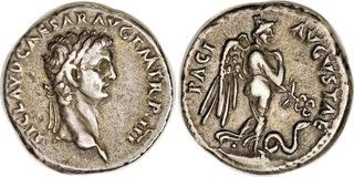 Silver coin of Emperor Claudius. He reigned in 41-54 AD.