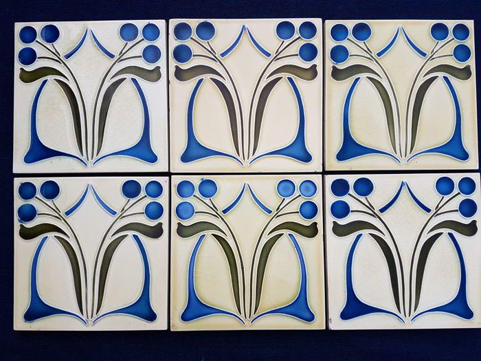 Art Deco Tegels : Online veilinghuis catawiki jugenstil aardewerk tegels met